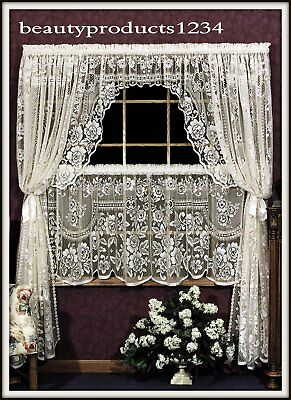 "HERITAGE LACE White VICTORIAN ROSE Insert Valance 36""W x 11""L  Made USA LACE~"