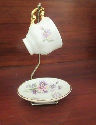 """MINIATURE CUP & SAUCER from BLUE WATERS OF ENGLAND STAFFORDSHIRE """"September"""""""