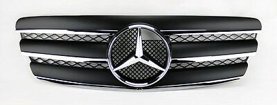 3 Fin Front Hood Sport Black Chrome Grill Grille for Mercedes E Class W211 03-06