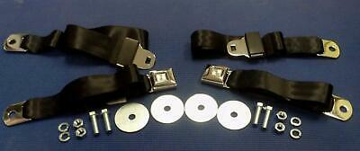 1955-1972 Chevrolet Gmc Pick-Up Truck Chrome Oe Style  Black Seat Belts 2 Sets