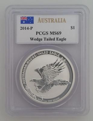 2014-P AUSTRALIA 1 ozt SILVER Wedge Tailed Eagle PCGS MS69 MERCANTI signed