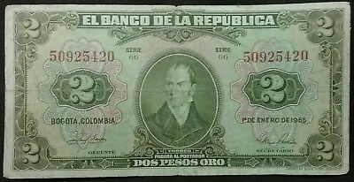 COLOMBIA 1965 2 Pesos Antique Currency Old Colombian Money Banknote Dos Oro