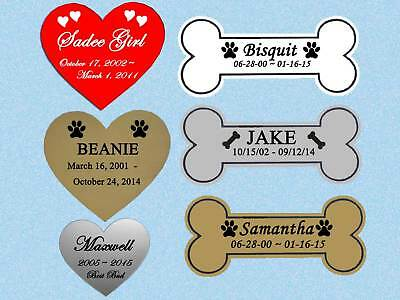 Heart or Bone Shape Engraved Pet Memorial Personalized Name Plate Dog Cat Any