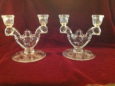 Vintage Heisey Orchid Crystal Pair Of Double Candlesticks Candlelabra Candlestan