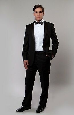 Men's Slim Fit Tuxedo Suit Formal Two Button Tux & Trousers Prom Wedding Groom