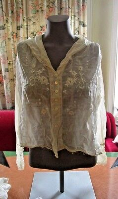 Victorian and Edwardian Women's Lot Blouses Skirt Aprons Caps Shawl Lace Silk 12