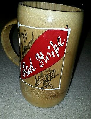 Red Stripe hand-carved bamboo beer mug, brand new/free S&H/Jamaica/beer