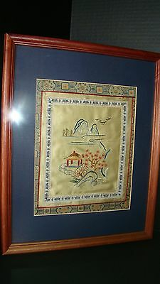 Framed Oriental Chinese Silk Embroidered Landscape