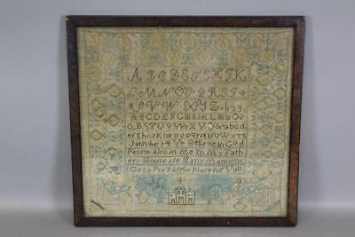Rare 18Th - 19Th C Schoolgirl House Sampler In Great Vibrant Blue Colors