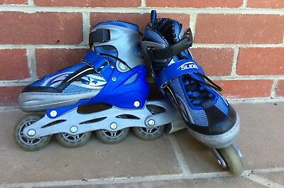 Slider Blue Inline Skate Kids Roller Blades Shoes Adjustable Size 1-4