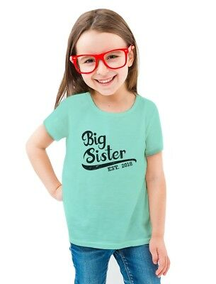 Big Sister Est 2018 - Sibling Gift For Girl Toddler/Kids Girls' Fitted T-Shirt