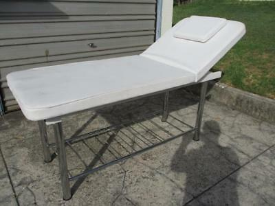 Professional Massage Treatment Table Bed Therapy Beauty White & Chrome Tilts