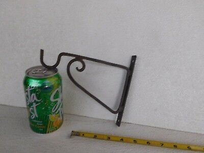 Antique  Black Plant Holder With Hook Wall Mount Heavy Duty Metal  6''  7 1/2''