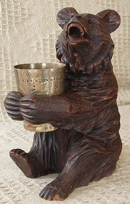 Large Black Forest Seated Bear Holding Brass Pot c 1910