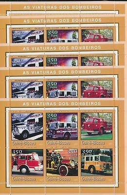 BB4-089 Guinea-Bissau 2001 fire engines cars 5 sheets MNH
