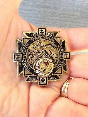 Knights Templar Masonic 1892 Medal Pin Denver Co Grand Encampment