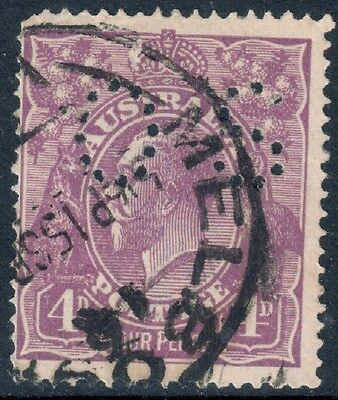 "KGV 4d Violet ""OS"" Single Watermark SGO73 Fine Used"