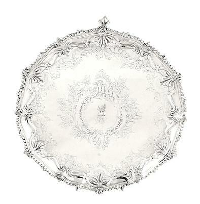 """Antique Victorian Sterling Silver 10 1/2"""" Tray/salver - 1877 - Armorial Crest"""