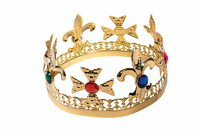 Medieval Renaissance Gold Jeweled Crown King Queen Royalty Costume Accessory