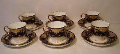 Stunning Set Of 6 Minton Cobalt Blue And Heavily Gilded Cups And Saucers G9910