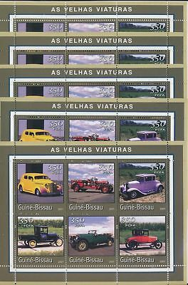 BB4-127 Guinea-Bissau 2001 old timers vehicles cars 5 sheets MNH