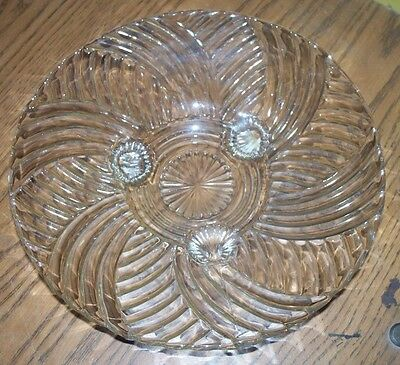 """Antique Vintage 3 Legged Ribbed 10"""" Clear Glass Fruit Bowl Plate No Chips"""