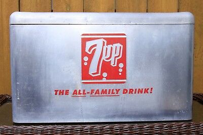 Vintage 7 UP Cooler Soda Advertising Cronstroms Aluminum Picnic Camping Boating