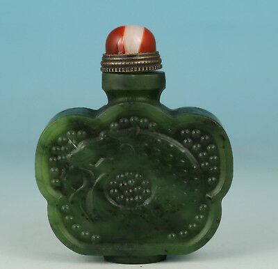 Chinese Natural Jade Handmade Carved dragon Poetry Statue Snuff Bottle