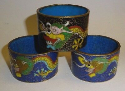 Antique Chinese Cloisonne Napkin Rings Dragons