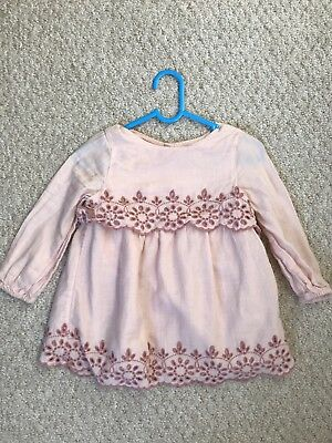 Gap Baby Girls Dress 12-18 Months Pink With Lining Worn Once