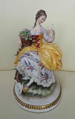 Capodimonte Lace Porcelain Figure - Lady with Doves, by Cappe