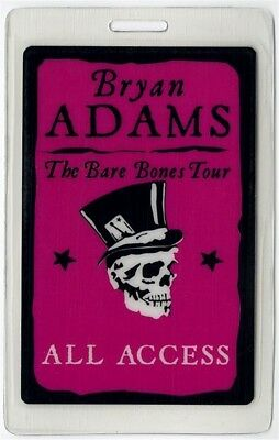 Bryan Adams authentic 2010 concert Laminated Backstage Pass The Bare Bones Tour