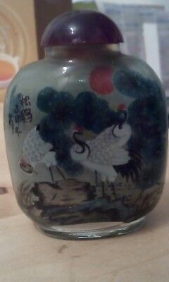 Beautiful Very Old Inside Painted Cranes Oriental/Chinese Snuff bottle (84)
