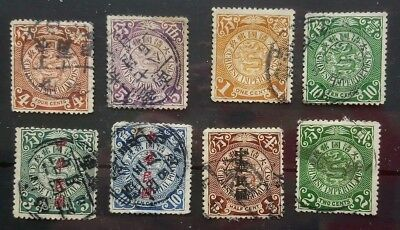 China 1898 - 1912 Selection Of 8 Coiling Dragon Stamps