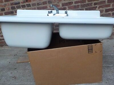 Kohler ?  Vintage Antique Farm House Sink Dual Basin Drain