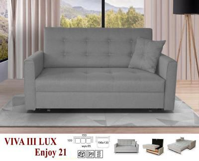 New Large Sofa Bed Lux Viva Fabric Storage Bed Double Single Grey Beige Brown
