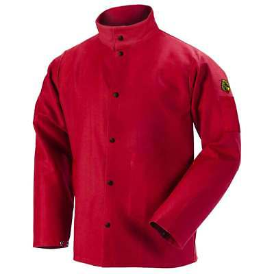 "Black Stallion FR9-30C 30"" 9oz. Red FR Cotton Welding Jacket, Medium"