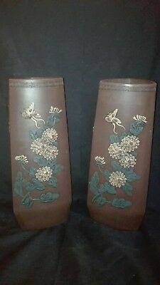 Pair of rare unusual three sided Japanese vases with raised decor signed stamped