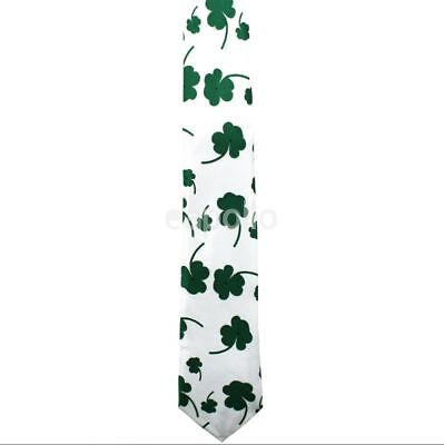 Unisex Novelty Fancy Dress White and Green Leaf Clover Irish Large Tie New