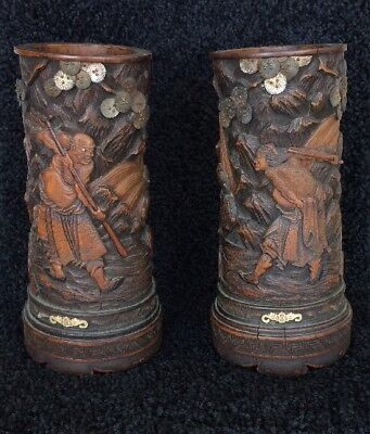 Pair of CHINESE WOODEN BRUSH POTS Heavily Carved High Relief Warrior Scene