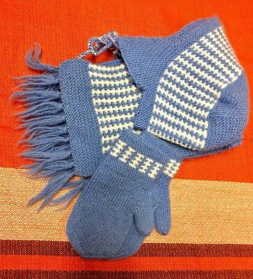Beautiful Vintage Little Boys/ Girls Hat, Scarf And Gloves Set