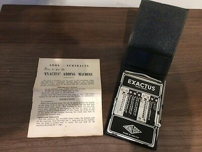 Exactus 'Mini-Add' 1950s Vintage Adding Machine  with Instructions and Case