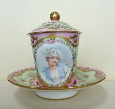 Beautiful 19th Century Sevres Porcelain Trembleuse Cup and Saucer