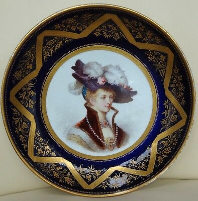 24cm Sevres Dish with Hand Painted Portrait - Possibly 18th Century