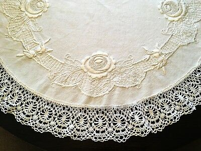 VTG Bullion Rose Embroidery Arts Crafts Round Tablecloth Society Silk CLUNY Lace