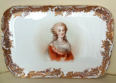 Beautiful 19th Century Sevres Porcelain Tray with Marie Antoinette Portrait