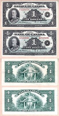 1935 $1 KGV Bank of Canada French & English Varieties (BC-1&2). VF/EF condition