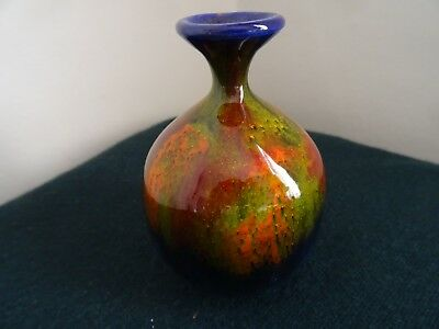 Vintage Giorgio Albisola Italy Flambe Red Orange Blue Glaze Small Pottery Pot