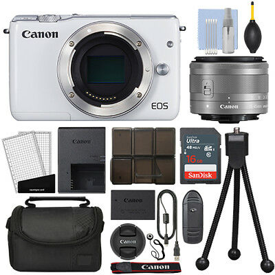 Canon EOS M10 Mirrorless Digital Camera with 15-45mm STM Lens White + 16GB Kit