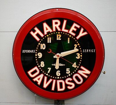 """A 22"""" Glo-dial Style, Neon Clock, Red w/Black can. Harley Davidson."""